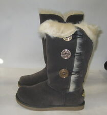 Womens Gray Round Toe Winter Warm Sexy Mid-Calf Boot Size 7.5