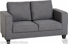 New Grey Fabric Two Seater Sofa-in-a-Box Couch Living Room Bedroom Kids Office