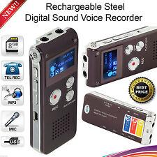 REGISTRATORE VOCALE DIGITALE 8GB Ricaricabile Dittafono acciaio MP3 Giocatore Suono Record