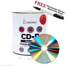 100 Smartbuy 52X CD-R 700MB 80M Shiny Silver Blank Disc + Black Permanent Marker