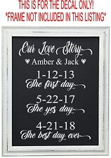 OUR LOVE STORY WEDDING DECAL SIGN CUSTOM PERSONALIZED ENGAGEMENT PRINT BRIDE