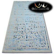 "VERY SOFT WOOL & ACRYLIC RUGS blue ""MANYAS"" Thick & Densely Woven HIGH QUALITY"