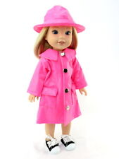 """Pink Raincoat & Hat For 14.5"""" Wellie Wishers American Girl Doll Clothes"""