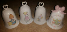 (4) Precious Moments Bells 1987 Christmas Bell & 3 Others