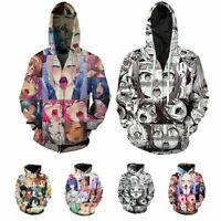 Ahegao Face Manga Hoodie 3D Print Sweatshirt Pullover Anime Hooded Jacket