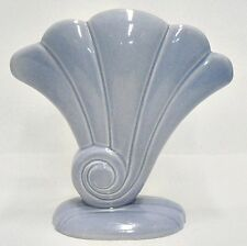 """RED WING POTTERY BLUE WITH PINK FAN SHAPE 7-1/2"""" VASE NUMBER 892"""