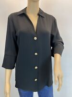 River Island Oversized Black Elegant 3/4 Sleeve Button Up Shirt Blouse Size 8