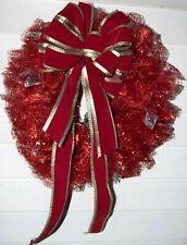 Handmade Christmas Wreath Red with Lights Deco Mesh