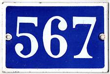 Old blue French house number 567 door gate plate plaque enamel steel metal sign