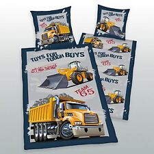 DIGGERS & TRUCKS 100% COTTON DUVET COVER SET TOUGH BOYS TOYS