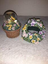 Vintage San Fransisco Music Box Butterfly Flower Basket Musical Snow Globe Works