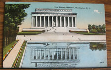 Vintage Postcard New Lincoln Memorial Washington D. C. Reflection in Water