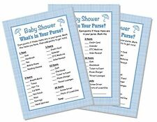 24 Baby Shower What's in Your Purse Game Cards Blue Boy