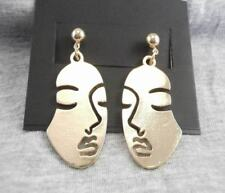 Retro art abstract cutout gold coloured face dangle/ drop Earrings