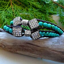 Turquoise Beads & Swarovski Crystal Stainless Steel Brown Leather 16″ Wrap Brace
