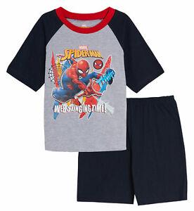 Boys Spiderman Short Pyjamas Kids Marvel Avengers Shortie Pjs Set Nightwear Age