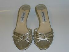 JIMMY CHOO LEATHER SLIP ON SHOES / SANDALS SIZE 4.5 37.5