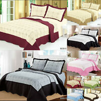 Quilted Embroidered Bed Throw Bedspread Comforter Bedding Set + Pillow Cases