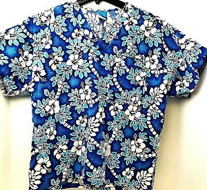 Hawaiian Pattern Size Small Blue And White Floral Dental Medical Nurse Scrub Top