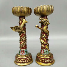 Collect Chinese pure copper Cloisonne Dragon Phoenix candle Candlestick A pair