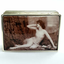 Large Sterling Silver Hallmarked 1920's Enamel Erotic Beauty Trinket Pill Box