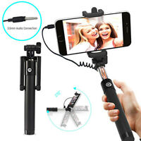 Wired Selfie Stick Extended Handheld Monopod Remote Control for Samsung Huawei
