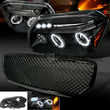 Black Combo: 05-07 Dodge Magnum Mesh Grille+LED Projector Headlights