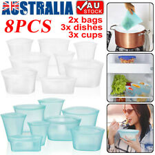 8PCS Reusable Silicone Food Storage Bags Zip Seal Top Leakproof Container Stand