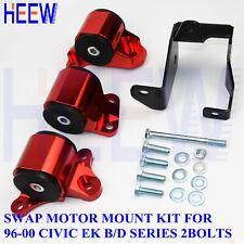 Motor Mounts Engine For Honda Civic 96-00 EK D16 B16 B18 B-Series 2-Bolts RED