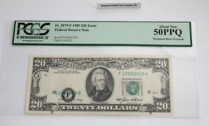 "$20 1985F Atlanta ""Misaligned Black OverPrint"" > ERROR< PCGS 50PPQ-About NEW!"