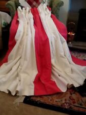 Pair Blanket Lined Laura Ashley Curtains Double Pleat Header Bacall White/Cerise