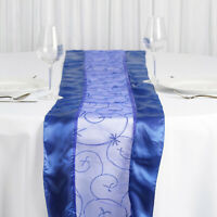 Royal Blue EMBROIDERED TABLE RUNNER Fancy Wedding Party Catering Linens Dinner