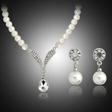 CREAM GLASS PEARL AND DIAMANTE CENTRE DROP NECKLACE AND EARRINGS SET
