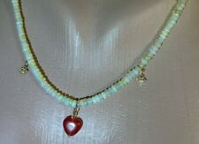Necklace Opal Diamond Ruby 14k 585 Solid Rose Gold