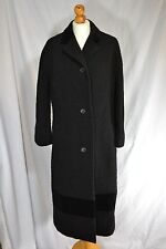 Vintage ladies black Aquascutum boucle coat velvet trim 1970s IMMACULATE 14/16