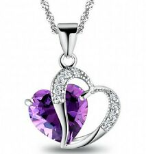 Fine Silver Purple Amethyst Gemstone Heart Pendant Crystal NECKLACE Jewelry EY
