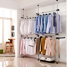Heavy Duty Adjustable Garment Rack Shelf Clothes Bag Hat Hanger Closet Organizer