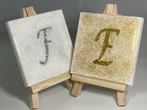 Personalised Resin Mini Canvas & Easel with Initial. Cute Gift for all Ages