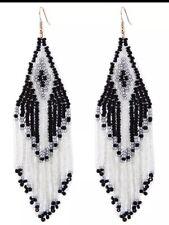 BOHO ZARA DUPE-BEADED-TASSEL EARRINGS BLACK WHITE ETHNIC LONG  EARRINGS
