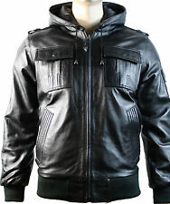 Mens Hooded Bomber Black Real Sheep Skin Leather Jacket