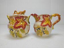 Vintage Bico China Autumn Harvest raised 3D leaf Sugar Bowl With Lid & Creamer