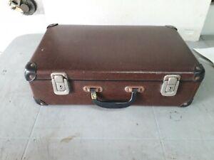 Bella valigetta vintage cartonata marrone scuro  (G048)