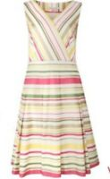 LAURA ASHLEY Ice Cream Candy Striped Cotton Fit & Flare  Summer Dress Sz 8 £100