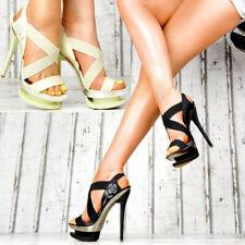 Neu Designer Damenschuhe Sexy High Heels Party Pumps Plateau Sandalen Schnallen