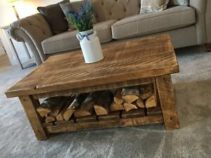 SOLID FARMHOUSE CHUNKY WOODEN COFFEE TABLE - WAX FINISHED - Can Make Any Size !