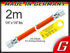"""MD Gasschlauch 2 m (200 cm) 1/4"""" links bds. Gas-Schlauch Propan Gaskocher Herd"""