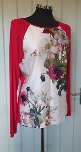 B by Baker pink floral long sleeve peony pyjama top size 12 satin silky floral