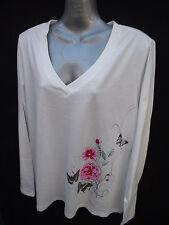 BNWT Ladies Sz 16 Undercoverwear Cream Floral Stretch Long Sleeve Top RRP $39