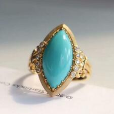 Vintage Genuine Turquoise Marquise 5.0CT Engagement Ring Solid 14K Yellow Gold