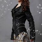 Women's Rock Punk Shoulder PU Leather Spike Studded Motorcycle Coat Jacket Plus